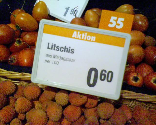 Litschis Preistäfelchen