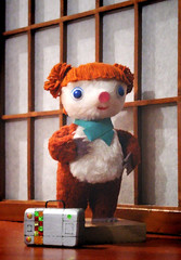 teddy bear(0.0), art(0.0), textile(1.0), plush(1.0), stuffed toy(1.0), mascot(1.0), toy(1.0),