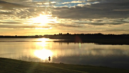 sunset lake iceland fisherman vatn