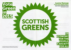 Flyer for Louise Ramsay, Scottish Green Party candidate for Perth and North Perthshire