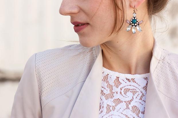 Blush Textured Jacket, Lace Tee, Rocksbox Earrings