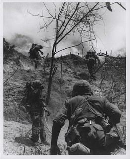 Marines Move Up Rugged Slope, July 1966