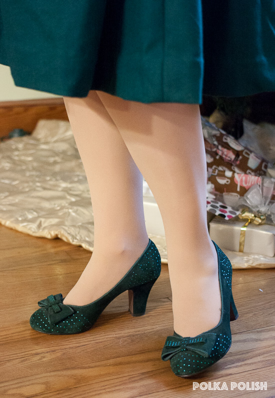 Miss L Fire Gabrielle rhinestone-studded suede pumps in green from Royal Vintage Shoes