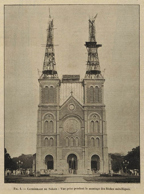 The construction of the twin spires at the Saigon Notre-Dame Basilica.