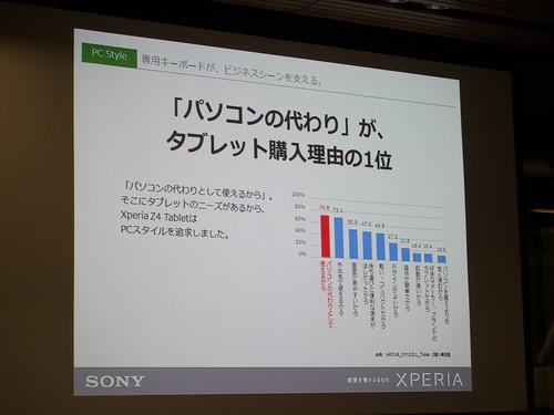 Xperia アンバサダー ミーティング スライド : タブレットのニーズ 1位である「パソコンの代わり」に応えるために用意しました