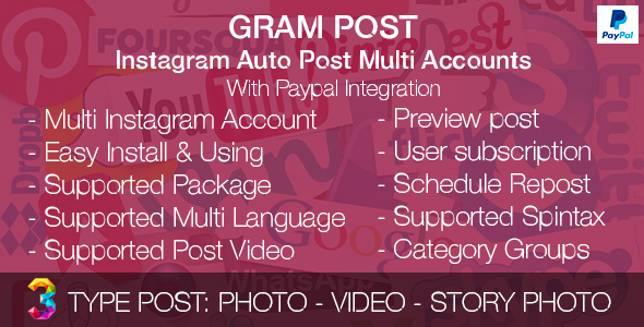 Gram Post v1.0 - Instagram Auto Post Multi Accounts with Paypal integration
