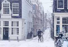 Snow blizzard in the heart of Amsterdam