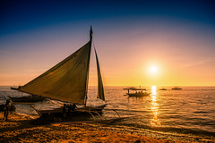 Paraw and Sunset, Boracay, Philippines