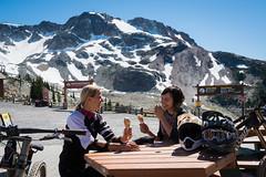 Taking a break from biking for an ice cream on Whistler Mountain