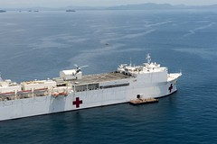 USNS Mercy (T-AH 19) sits at anchor off the coast of Roxas City, July 21. (U.S. Navy/MC1 Trevor Andersen)
