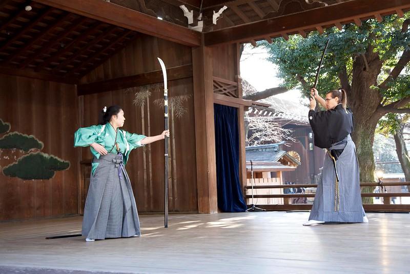 Yasukuni jinja Nôhgakudô. Hônô enbu enero 2014. Ryôen ryû naginatajutsu