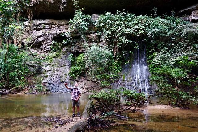 Chris selfies self at waterfall