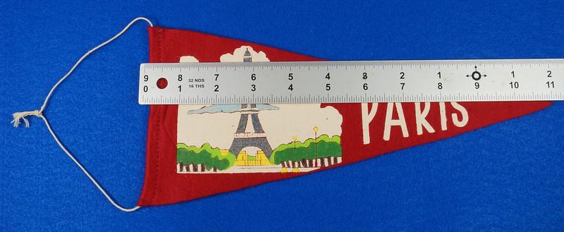 RD15161 Vintage France PARIS Eiffel Tower 2 Sided Red Mini Flag Felt Pennant 11 inch DSC08709