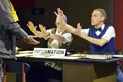 Sarah Crowden (Information Officer) and Richard Cant (Assistant) in The Trial at the Young Vic. Photo by Keith Pattison