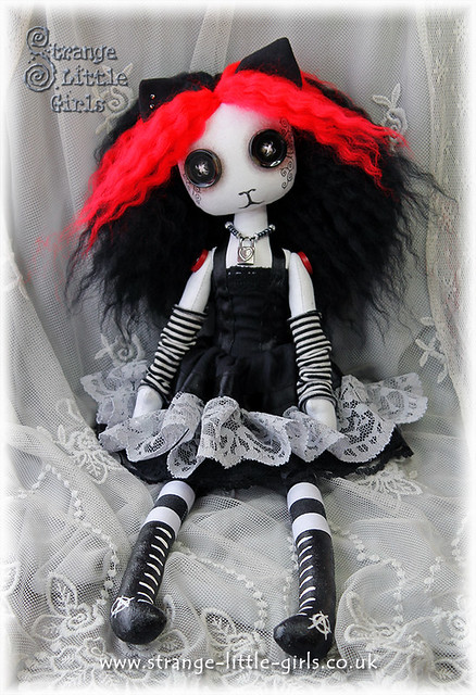 Cloth cat art doll - Kitty Ketamine