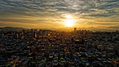 sunrise cityscape southkorea lowsun gwangju