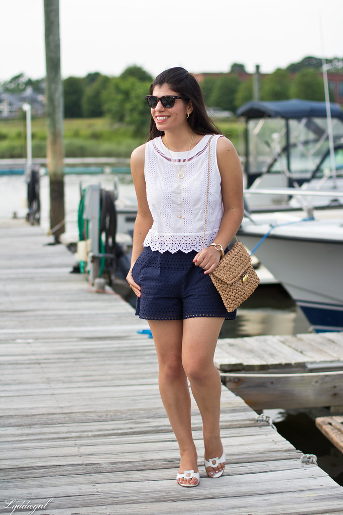 eyelet lace crop top and shorts, straw bag, white sandals-2.jpg