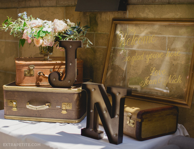 bridal shower vintage suitcases welcome table