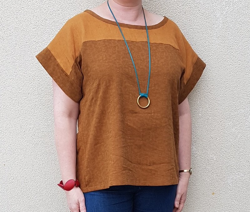 Designer Stitch Georgia top in linen and viscose jacquard
