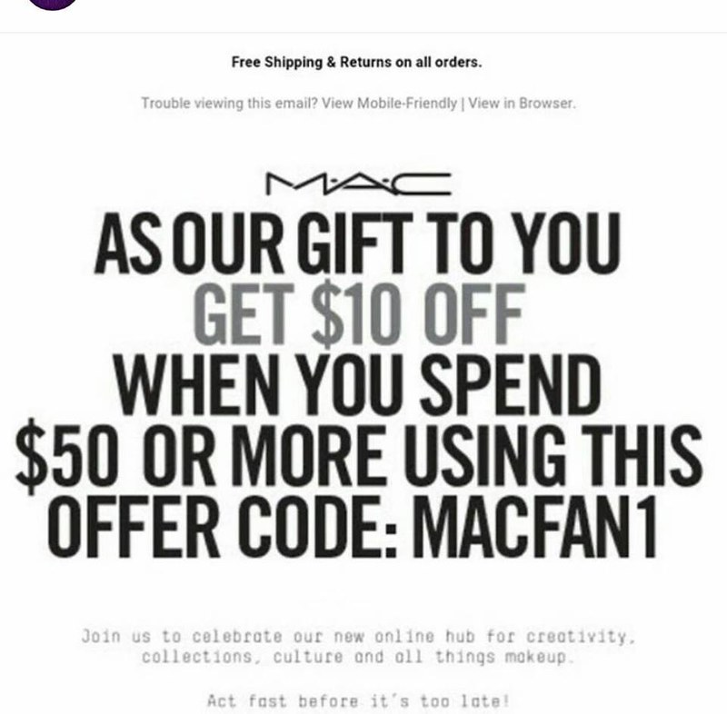 MAC Cosmetics Promo Codes & Cyber Monday Deals for November, Save with 4 active MAC Cosmetics promo codes, coupons, and free shipping deals. 🔥 Today's Top Deal: (@Amazon) Up To 30% Off MAC Cosmetics. On average, shoppers save $22 using MAC Cosmetics coupons from sell-lxhgfc.ml