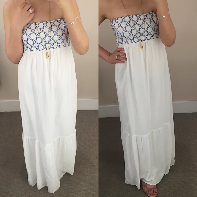 LOFT Embroidered Strapless Maxi Dress, size XS regular