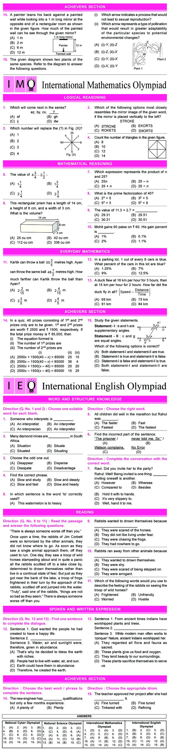 NCO, NSO, IMO & IEO Class 7 Sample Papers