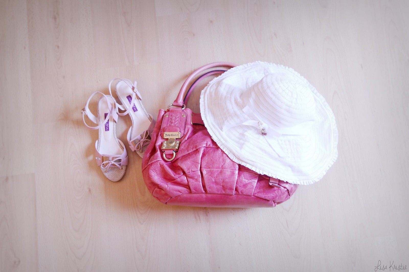 pink leather purse handbag bag juicy couture white summer floppy hat cotton bow cherry charm girly sandals shoes travel
