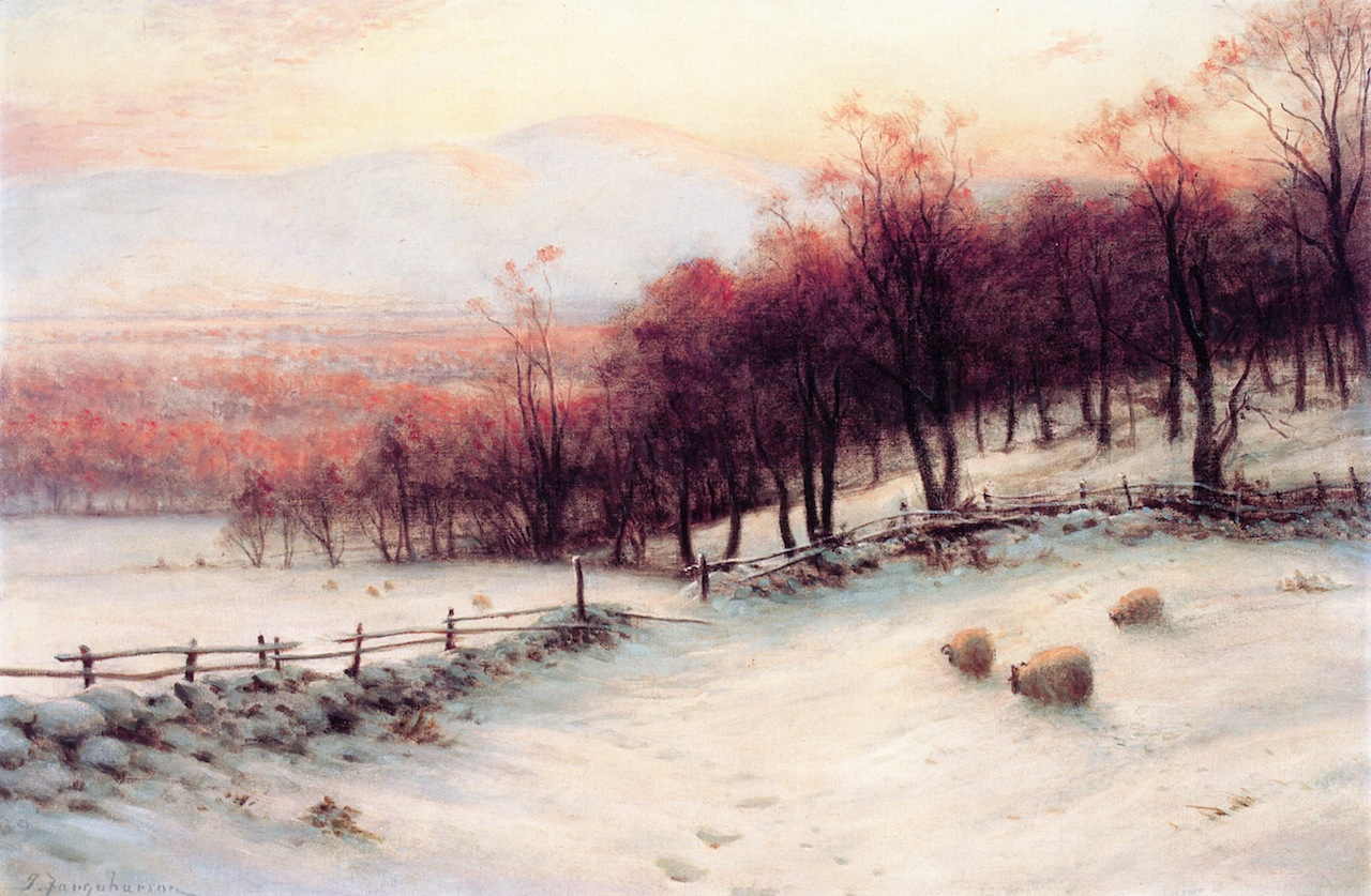 O'er Snow Clad Pastures, When the Sky Grew Red by Joseph Farquharson