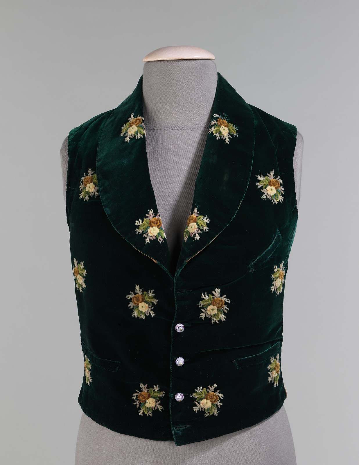 1838. American. Silk, cotton, wool, leather, glass. metmuseum