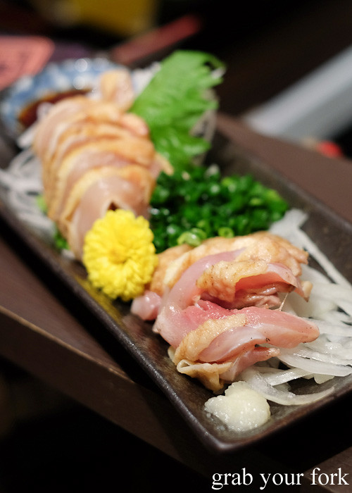 Kuro satsumadori torisashi black chicken sashimi at Tagiruba Grill in Kagomma Furusato Yataimura, Kagoshima