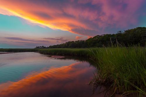 cloud color water newjersey weeds afternoon atmosphere marsh sandyhook wetland afterglow cloudsstormssunsetssunrises