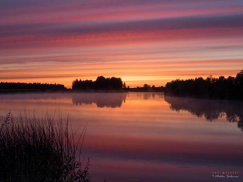 sunset mist fog finland river dusk stripes pohjanmaa kalajoki nivala ylivieska raudaskylä northernostrobothnia