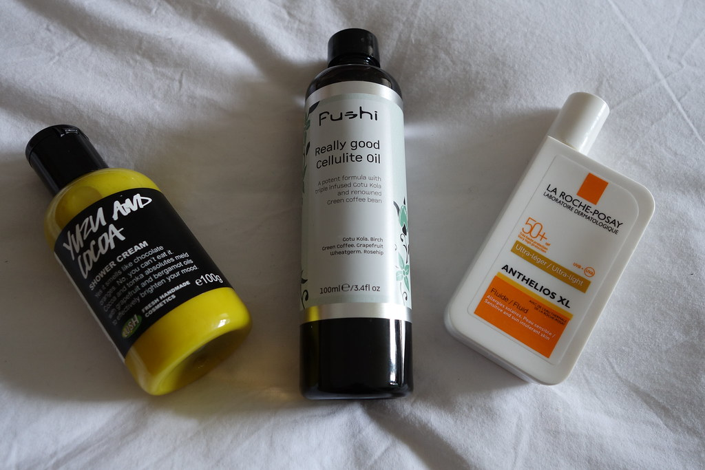 Lush Yuzu and Cocoa, Fushi Cellulite Oil, La Roche Posay Sunscreen