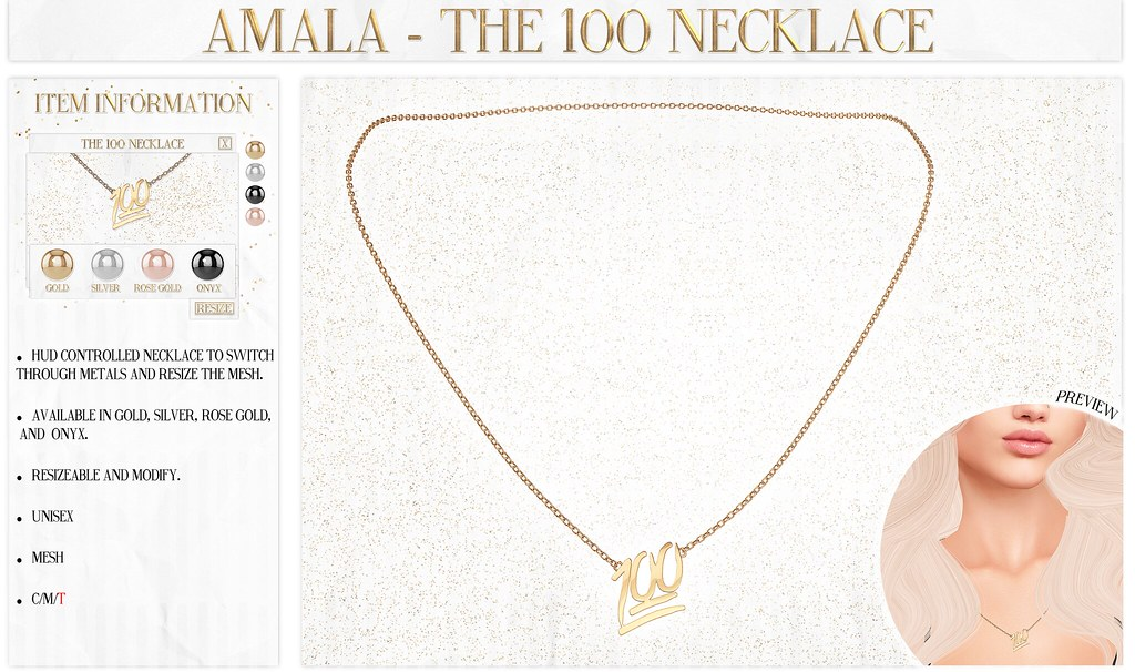 Amala - The 100 Necklace for Fifty Linden Friday - SecondLifeHub.com