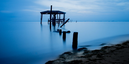 longexposure travel blue beach water pier al twilight travels decay urbandecay alabama daphne bluehour traveling mobilebay travelphotography bigstopper decayingpier