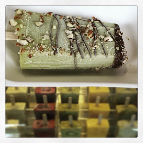 Coconut gelato: avocado and french tarragon, topped with dark chocolate and chopped almonds