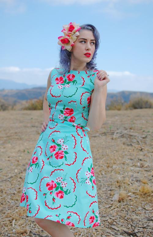 Heart of Haute Monique dress in Doilie Aqua print