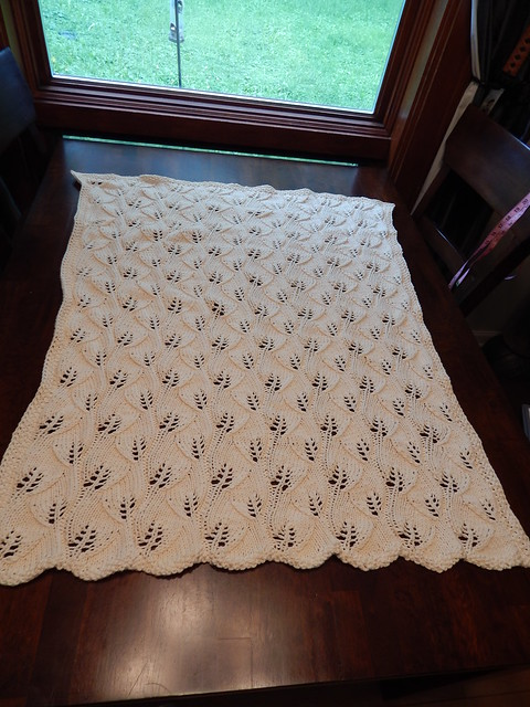 Leafy Baby Blanket in KP Simply Cotton Worsted