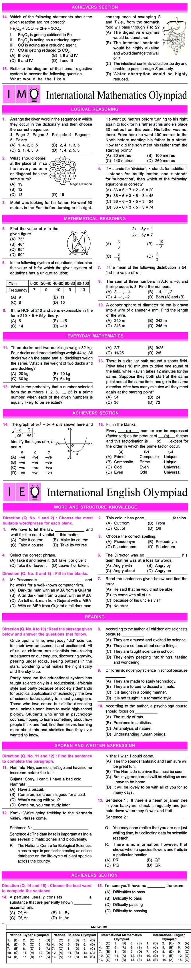 NCO, NSO, IMO & IEO Class 10 Sample Papers