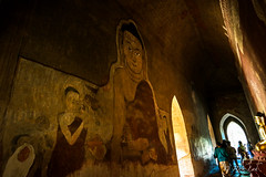 Buddha paintings on walls in Sulamani Temple