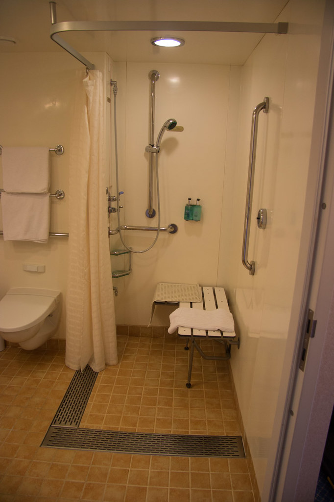 Bench seat in accessible shower