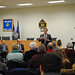 State Rep. John Fusco addresses the crowd during a town hall meeting in Southington with Rep. Rob Sampson and State sen. Joe Markley.