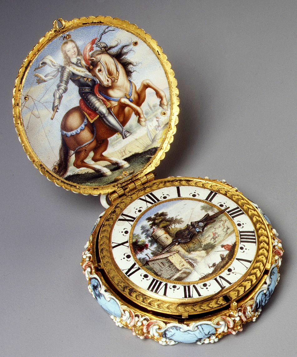 1645. Watch. Jacques Goullons. Case and dial of enameled gold; hand of steel; movement of brass, partly gilded, and steel. metmuseum