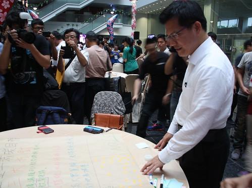 林佳龍表示,台中市正著手進行氣候變遷相關行動綱領,以列出具體政策為目標努力。攝影:鄒敏惠。