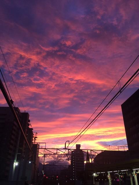 夕焼け 甲府駅