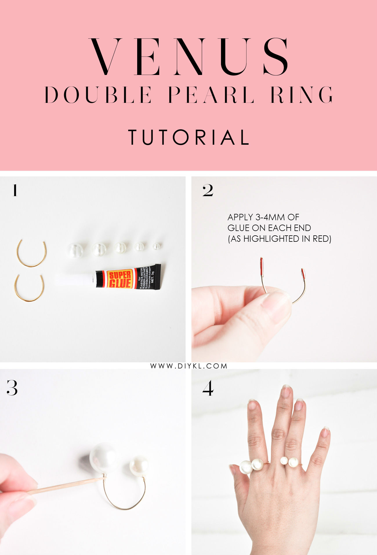 DIYKL VENUS Double Pearl Ring Tutorial