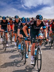 Team Sky driving the peloton towards Mende, TDF 2015 - Photo of Sainte-Enimie