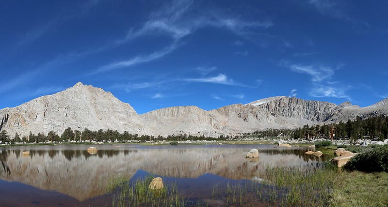 View of Peak 12369 and Mount Langley from across an unnamed lake in the Cottonwood Lakes Basin.