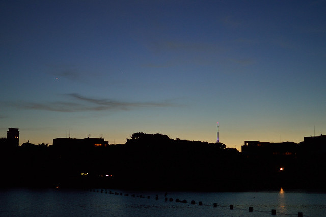 一番星と福岡タワー Venus and Fukuoka tower