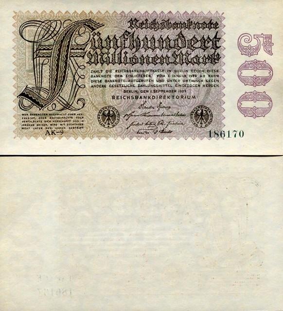 500 Miliónov nemeckých mariek Nemecko 1923, Pick 110